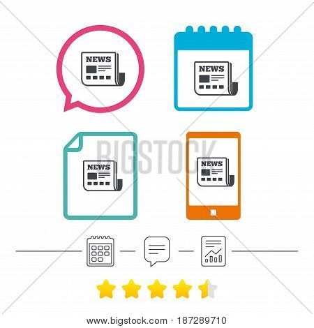 News icon. Newspaper sign. Mass media symbol. Calendar, chat speech bubble and report linear icons. Star vote ranking. Vector