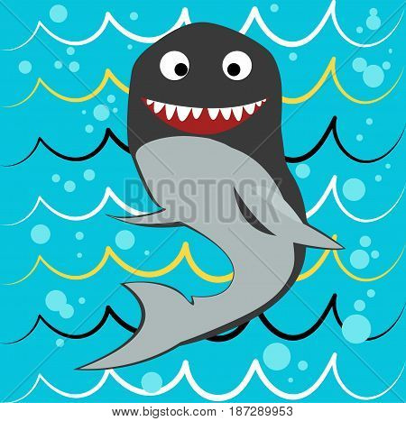 Shark vector on a blue background done in retro style