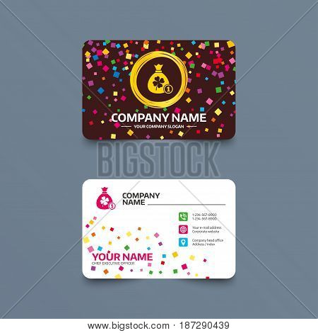Business card template with confetti pieces. Money bag with Clover and coin sign icon. Saint Patrick symbol. Phone, web and location icons. Visiting card  Vector