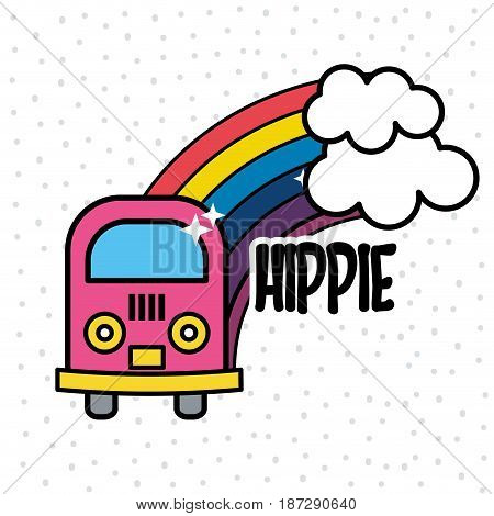 cute minibus with rainbow and clouds, vector illustration design