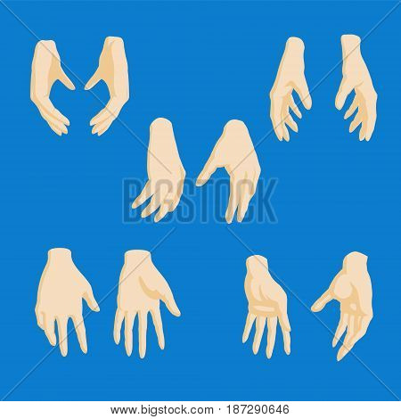 Set of cartoon-style girl hands in different positions. EPS10