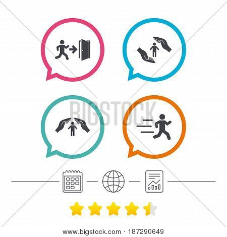 Life insurance hands protection icon. Human running symbol. Emergency exit with arrow sign. Calendar, internet globe and report linear icons. Star vote ranking. Vector
