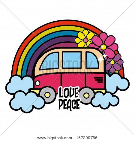 cute minibus with rainbow, clouds and flowers, vector illustration