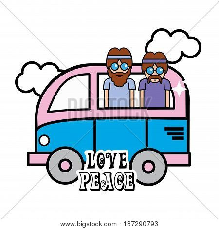 nice minibus with cloud and hippies inside, vector illustration