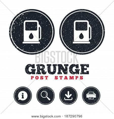 Grunge post stamps. Petrol or Gas station sign icon. Car fuel symbol. Information, download and printer signs. Aged texture web buttons. Vector