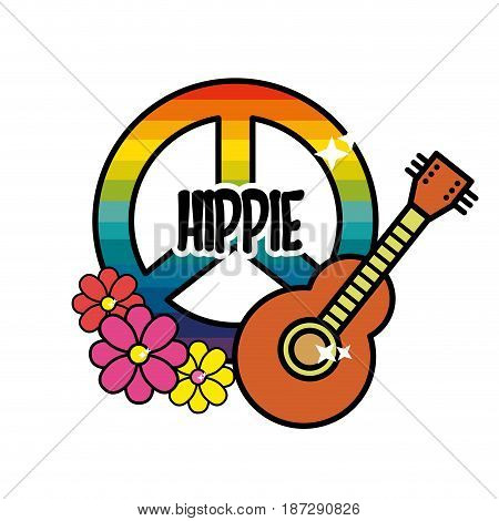 hippie emblem with flowers and musical guitar instrument, vector illustration