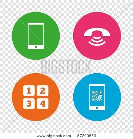 Phone icons. Smartphone with Qr code sign. Call center support symbol. Cellphone keyboard symbol. Round buttons on transparent background. Vector