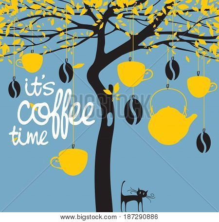Vector banner for a coffee house with a picture of a tree on which are hung cups a teapot coffee beans and with an inscription it is coffee time
