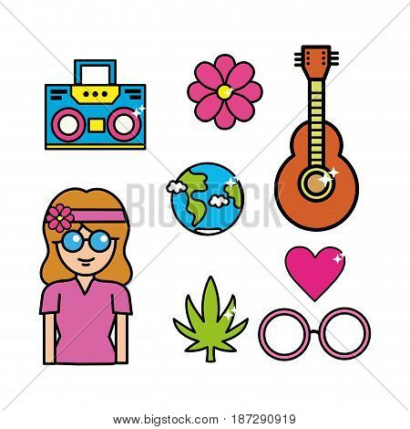 cute hippie woman with important tools, vector illustration