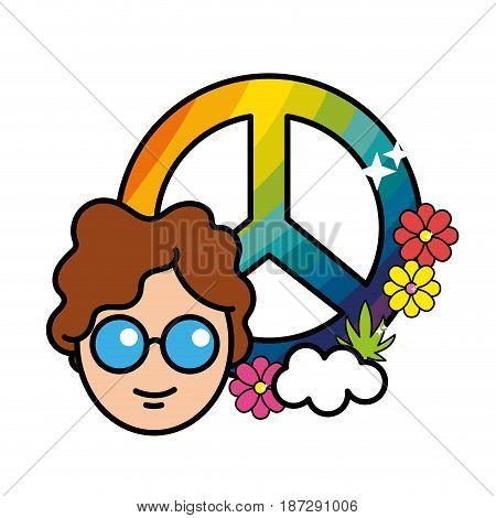 nice hippe emblem with flowers design, vector illustration