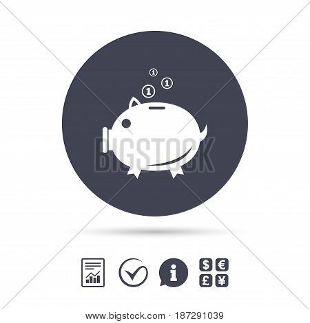 Piggy bank sign icon. Moneybox symbol. Report document, information and check tick icons. Currency exchange. Vector
