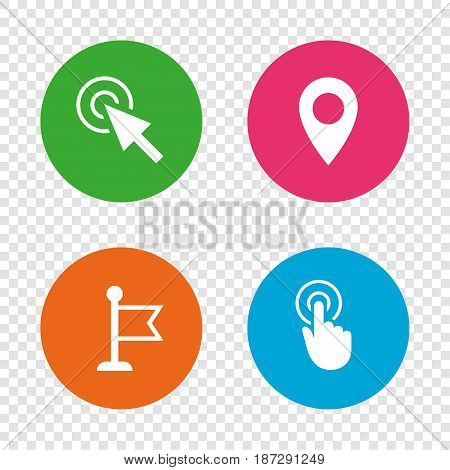 Mouse cursor icon. Hand or Flag pointer symbols. Map location marker sign. Round buttons on transparent background. Vector