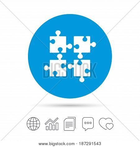 Puzzles pieces sign icon. Strategy symbol. Ingenuity test game. Copy files, chat speech bubble and chart web icons. Vector