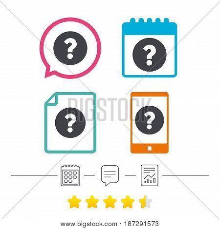 Question mark sign icon. Help symbol. FAQ sign. Calendar, chat speech bubble and report linear icons. Star vote ranking. Vector