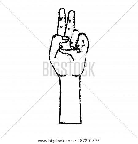 figure hand with middle finger and fingerprint up symbol, vector illustration