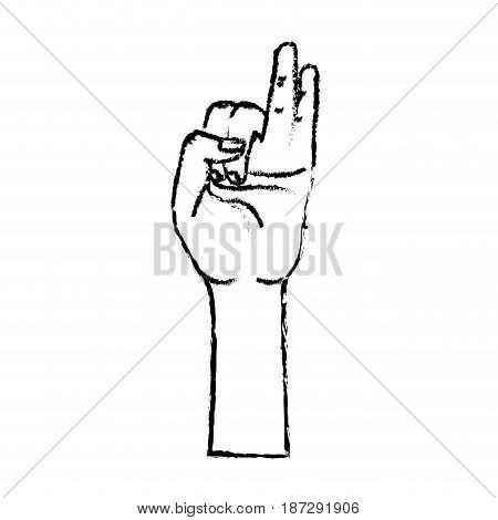 figure hand with pinky and ring finger up symbol, vector illustration