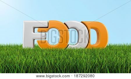 3d illustration. Food text on grass. Image with clipping path