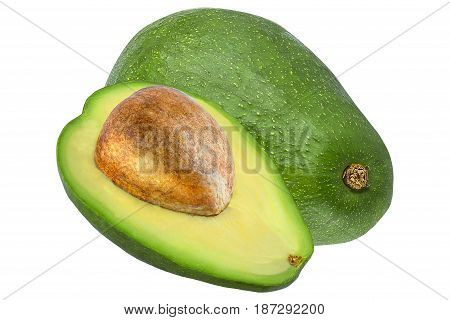 Isolated avocado. Cut avocado isolated on white background