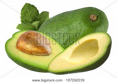 Isolated avocado. Fresh avocado fruits whit mint isolated on white background with clipping path