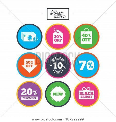 Sale discounts icon. Shopping, black friday and cash money signs. 10, 20, 50 and 70 percent off. Special offer symbols. Classic simple flat icons. Vector