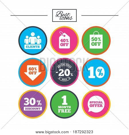 Sale discounts icon. Shopping, clients and speech bubble signs. 20, 30, 40 and 50 percent off. Special offer symbols. Classic simple flat icons. Vector