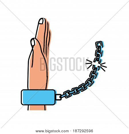 nice hand with metallic chain, vector illustration design