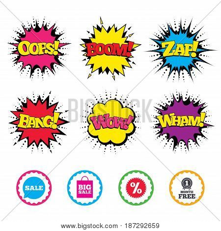Comic Wow, Oops, Boom and Wham sound effects. Sale speech bubble icon. Discount star symbol. Big sale shopping bag sign. First month free medal. Zap speech bubbles in pop art. Vector