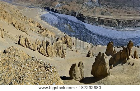 Panoramic View Of The Channel Of High Mountains: A Deep Canyon Canyon From A Sedimentary Sandy Yello
