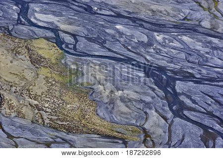 The Valley Is A High-mountain River, Photographed From A Great Height: Blue Streams At The Bottom Of