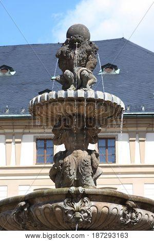 monument in Prague, summer day