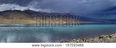 Stormy Hurricane To The High Mountains Of Lake: Dark Blue Clouds Descend To The Top Of The Hills, Al