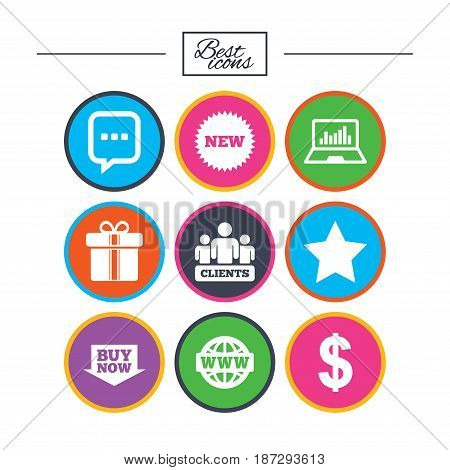 Online shopping, e-commerce and business icons. Gift box, chat message and star signs. Chart, dollar and clients symbols. Classic simple flat icons. Vector