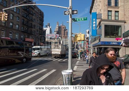 New York, NY - November 29, 2016: people walking in the streets of New York. USA