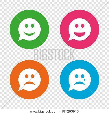 Speech bubble smile face icons. Happy, sad, cry signs. Happy smiley chat symbol. Sadness depression and crying signs. Round buttons on transparent background. Vector