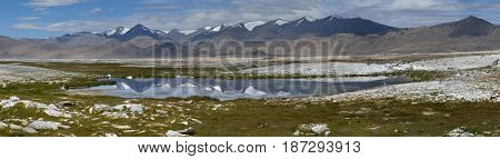 Panoramic photo of the high mountains of Lake Tso Kar: on the front of the lake where on the surface of the water as in a mirror reflected peaks of chains of mountains with a background India.