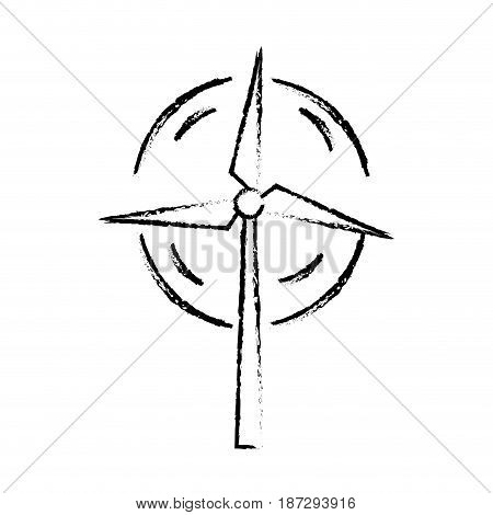line nature and organic windpower ecology care, vector illustration