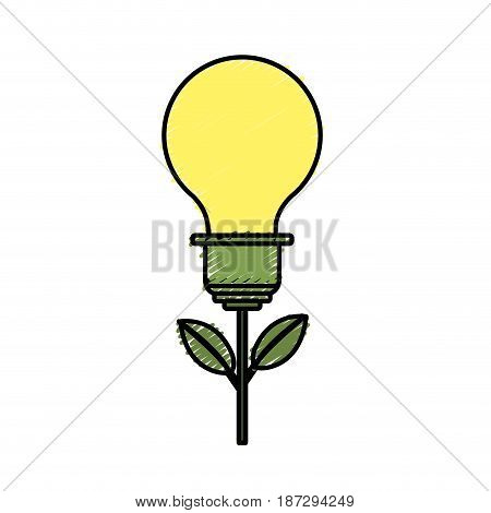 bulb plant with leaves to save environment, vector illustration