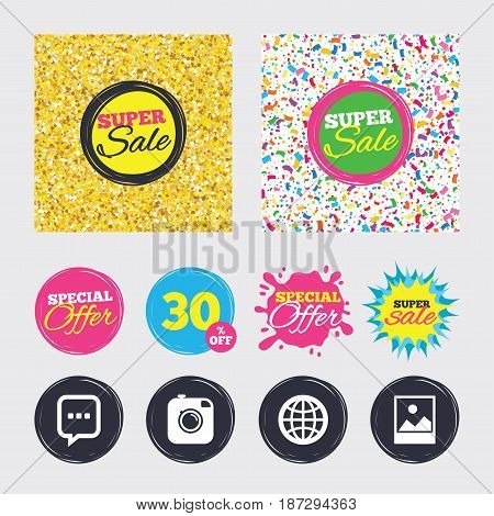 Gold glitter and confetti backgrounds. Covers, posters and flyers design. Social media icons. Chat speech bubble and world globe symbols. Hipster photo camera sign. Landscape photo frame. Sale banners
