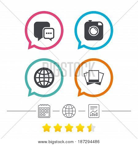 Social media icons. Chat speech bubble and world globe symbols. Hipster photo camera sign. Photo frames. Calendar, internet globe and report linear icons. Star vote ranking. Vector