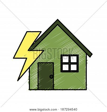 house with energy symbol to care environment, vector illustration