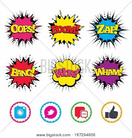 Comic Wow, Oops, Boom and Wham sound effects. Hipster photo camera icon. Like and Chat speech bubble sign. Bird symbol. Zap speech bubbles in pop art. Vector