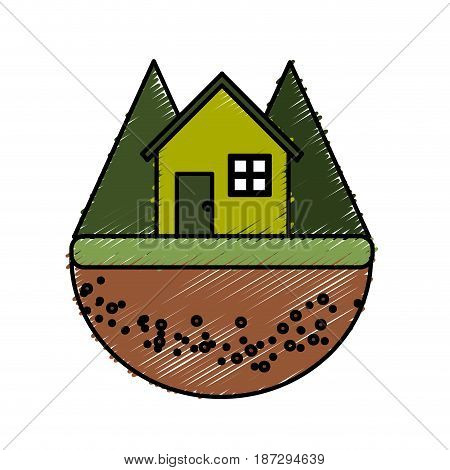 nice house in the forest witn mountains, vector illustration design