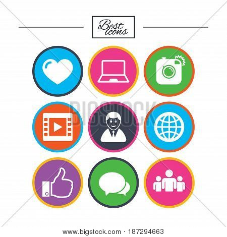 Social media icons. Video, share and chat signs. Human, photo camera and like symbols. Classic simple flat icons. Vector