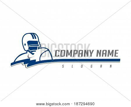 Football player logotype on a white background