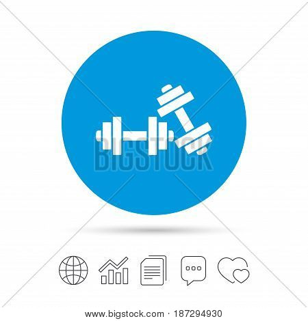 Dumbbells sign icon. Fitness sport symbol. Gym workout equipment. Copy files, chat speech bubble and chart web icons. Vector