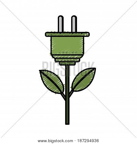 power cable plant with leaves, vector illustration design