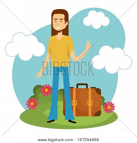 Hippie man with flowers, suitcase and blue sky over white background. Vector illustration.