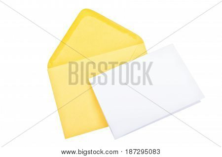 Yellow envelope with blank paper isolated on a white background