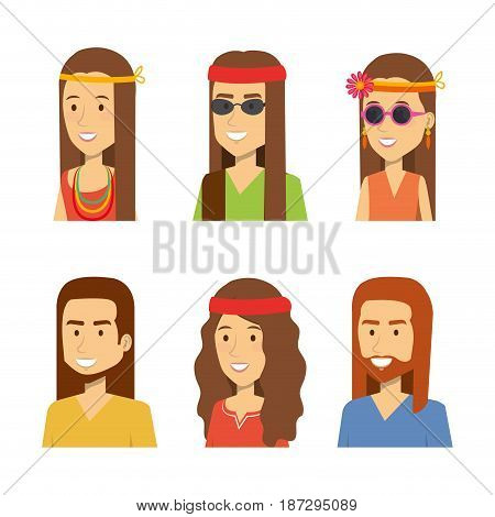 Set of smiling hippie people over white background. Vector illustration.