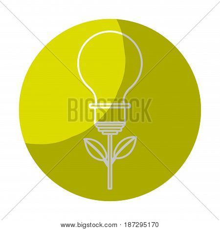 sticker bulb plant with leaves to save environment, vector illustration